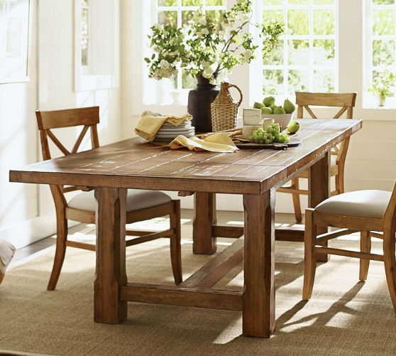 Love the legs on this one brayden extending dining table for Barn style kitchen table