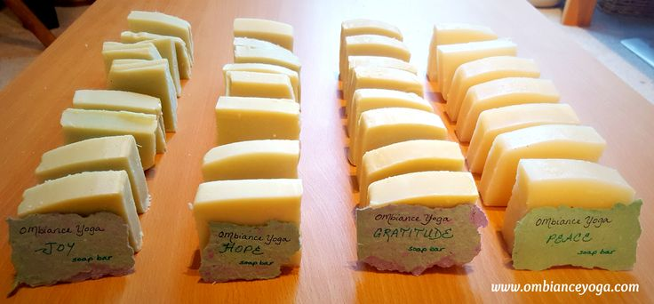 OMbiance Yoga handmade soap bars - available in Joy (peppermint), Hope (rosemary), Gratitude (lemongrass), and Peace (eucalyptus). http://www.ombianceyoga.com