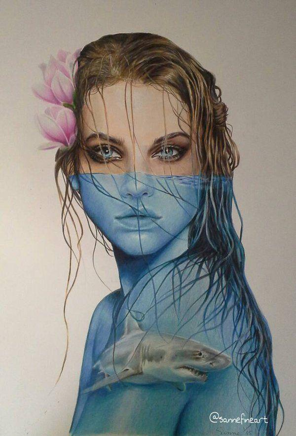 Sanne Fine Art - Shark Girl