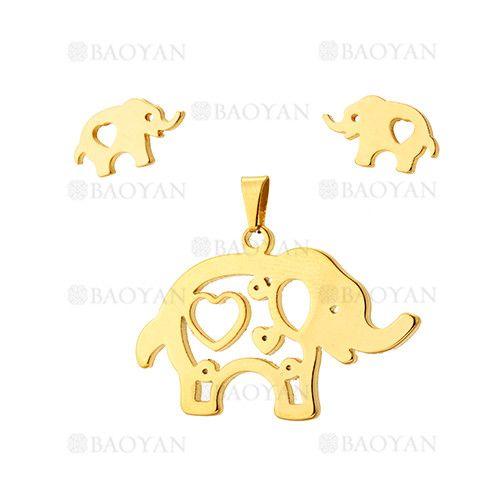 juego colgante y aretes de elefante con corazon en acero dorado inoxidable -SSSTG954226