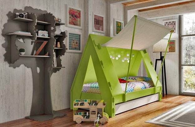 This modern furniture design idea is great for kids, offering a tent-shaped bed with interior lights and an additional pulling out bed under the main frame. Playful and interesting bed designs can add