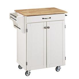 Home Styles 32.5-In L X 18.75-In W X 35.5-In H White Scandinavian Kitchen Carts