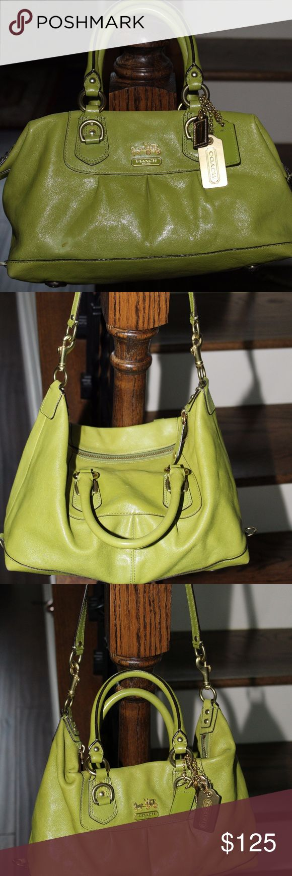 Authentic Coach Sabrina Satchel shoulder bag with Strap Apple Green Vintage Brass Hardware, Classy  bag sides hook to allow strap to be added for shoulder . small spot on front left corner of the bag shown in photo,  small ink barley seen from carrying. Reasonable offers excepted Approx: 8X13X5 Coach Bags Satchels