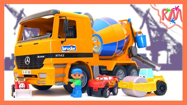 Building real road with toy equipment Tipper, Bruder Concrete Mixer, Asp...