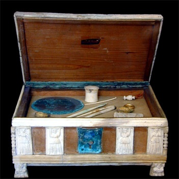 ROMAN COSMETIC BOX  --  1st Century CE  --  Bronze fittings & decorated with elaborate relief carvings in bone (wood is restored)  --   Naples, National Archaeological Museum