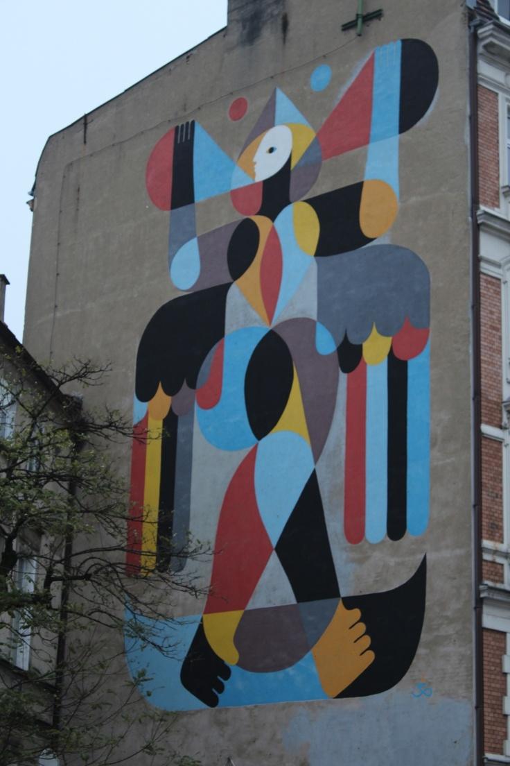 Mural na budynku przy Taczaka 11. Ul. Taczaka/Kościuszki.