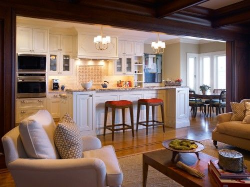 Open Kitchen & Living Room- comfy + cozy- I like!Floors Plans, Kitchens Design, Traditional Kitchens, Living Room Design, Kitchens Layout, Families Room, Open Kitchens, Open Plan, White Kitchens