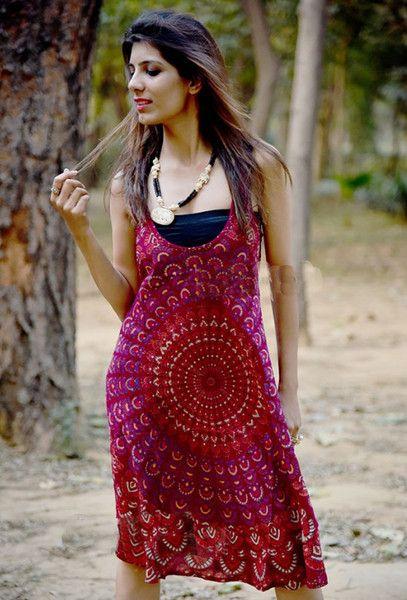 Tunic Tops – Midi Dress Short Swing Dress Mandala Printed Dress – a unique product by IndianCraftPalace on DaWanda