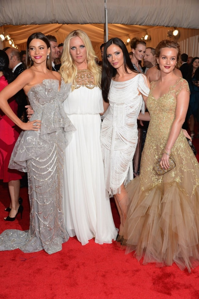 Marchesa's Keren Craig and Georgina Chapman, center, with Sofia Vergara, in Marchesa with Harry Winston jewels, left, and Leighton Meester, in Marchesa with Fred Leighton jewels. at the 2012 Met Gala