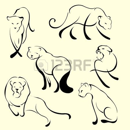 Vector illustraition of Lion Design Set made with simple line..