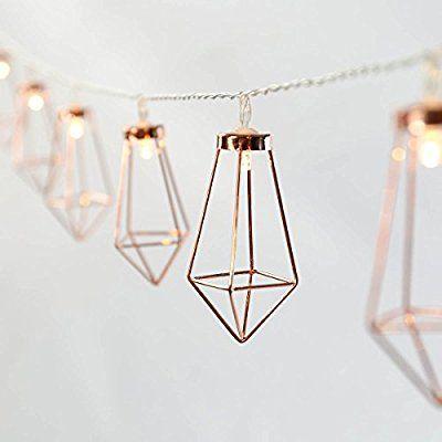 Guirlande Lumineuse Décorative 10 Mini Lanternes Métal Couleur Cuivre Style Industriel Éclairage LED Blanc Chaud sur Câble Transparent Flexible à Piles On/Off Auto - 1,80 Mètre: Amazon.fr: Cuisine & Maison