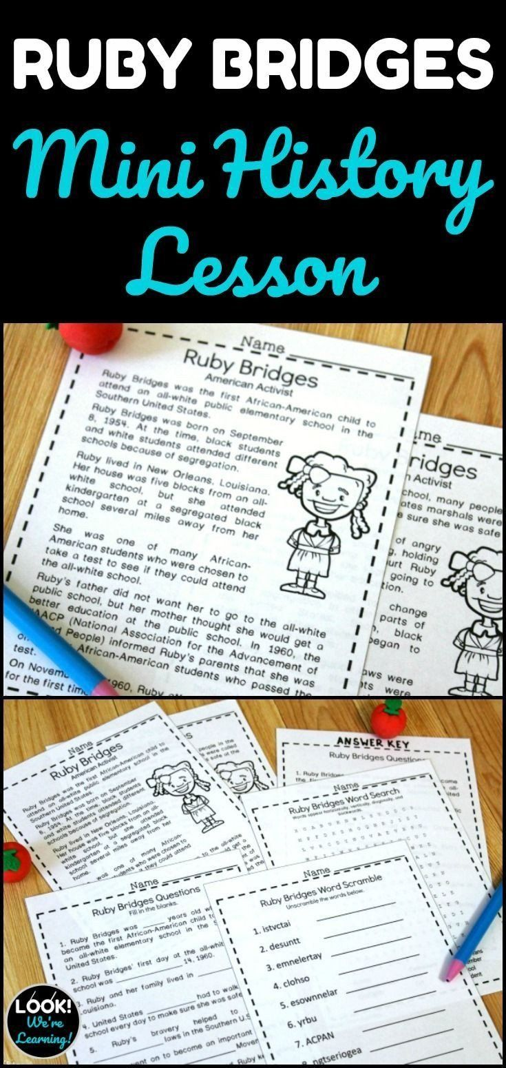 Ruby Bridges Word Search Ruby Bridges Mini History Lesson In 2020 In 2021 Black History Lesson History Lessons Study History [ 1550 x 735 Pixel ]