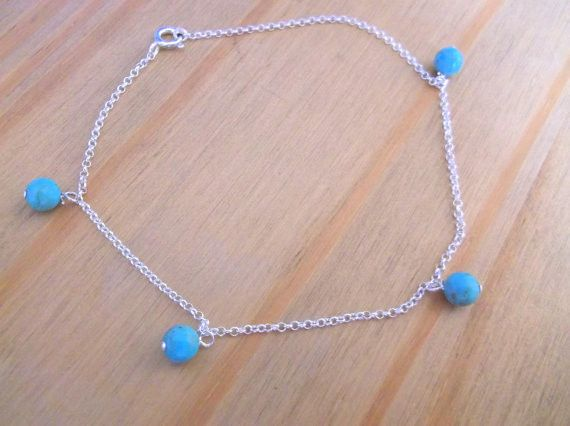 Anklets – Sterling Silver Anklet with Real Turquoise, 9.5 – a unique product by clutchandclasp-rose on DaWanda