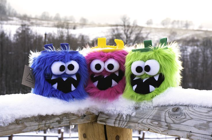 Five Tooth Monsters Chalk Bags all together by Craftic Climbing