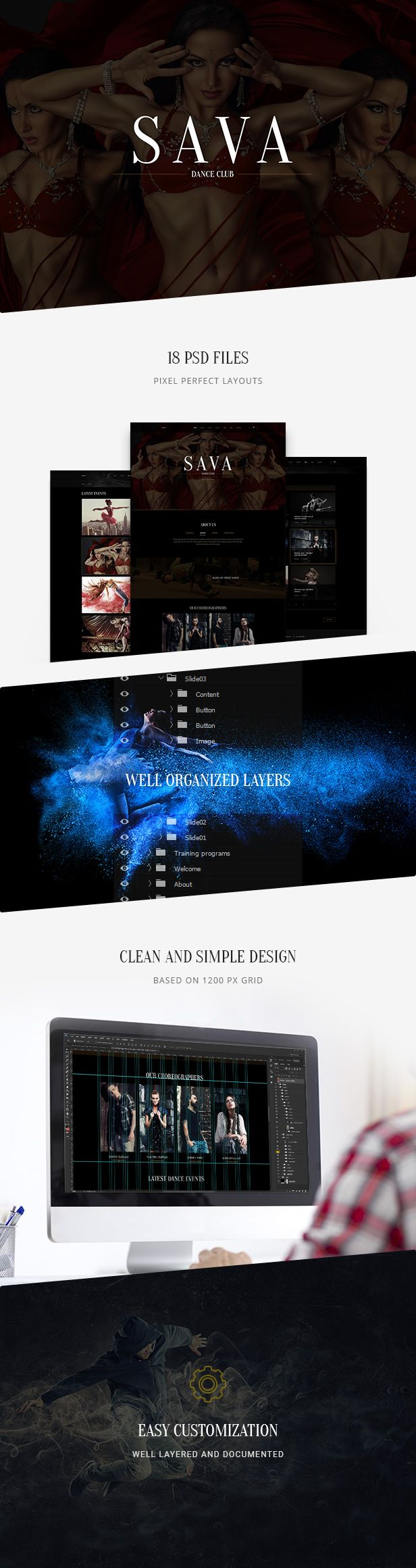 Sava – ultra modern, frank design in dark color for nightlife. Sava is awesome PSD Template for Night Club, Strip Club, Pole Dance Studio, Party Night, Photographer, Dance and Party Organisation, Lifestyle Blog