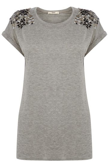 Embellished Shoulder T-shirt