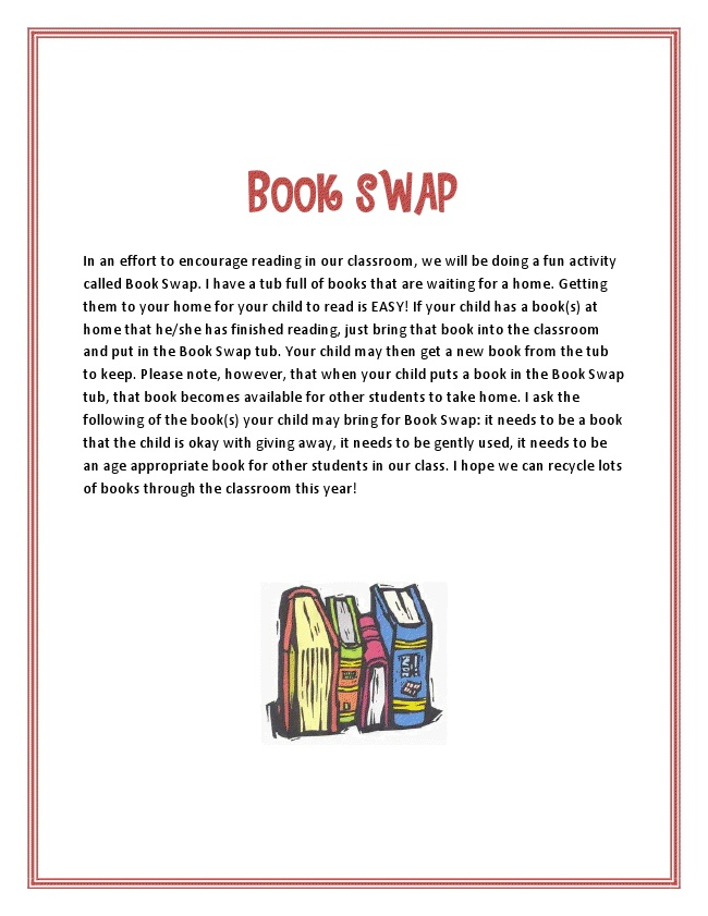 """LOVE the idea of book swapping! Imagine how excited kiddos will be when they get a """"free"""" NEW book!"""