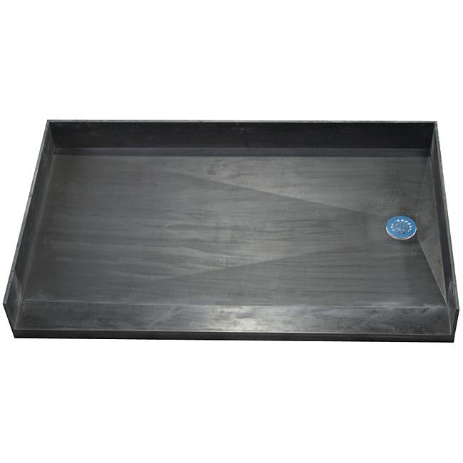 """Tile Ready Shower Pan 34 x 60 Right Barrier Free PVC Drain (Shower Pan black 34x60 Rt Barrier Free PVC Drain), Size 34"""" x 60"""""""