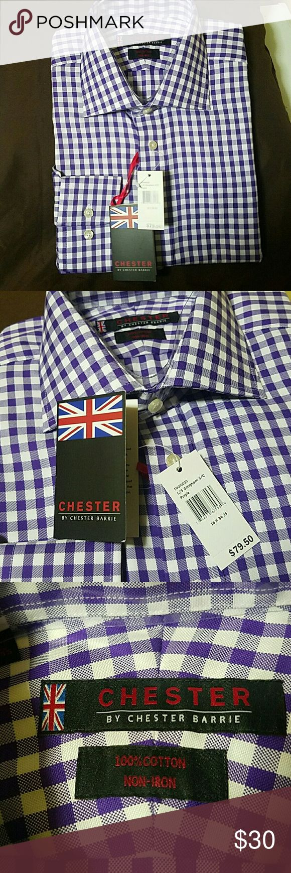 Chester Barrie button down- gingham purple Brand new button down shirt, long sleeve 16 1/2 34/35 Shirts Casual Button Down Shirts