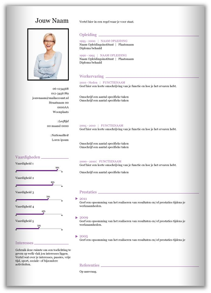 CV template 357. Volledig in Microsoft Word voor elke functie zelf aan te passen.