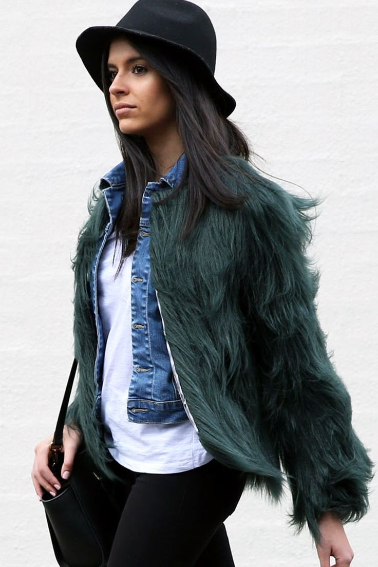 Unreal Fur - Unreal Dream Faux Fur Jacket Forest Green