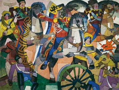 Aristarkh Lentulov: Victorious Battle (Military Panel), 1914 (oil, bronze, and silver paint on canvas). Petr Aven Collection.