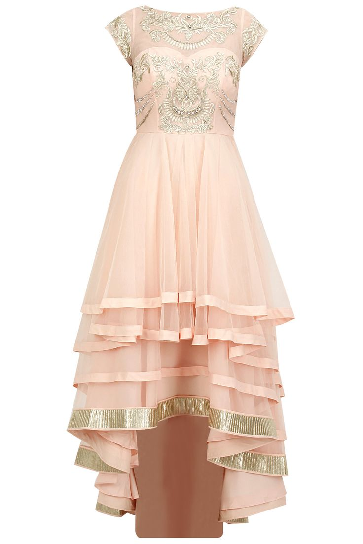 Blush pink embroidered multi layer anarkali set available only at Pernia's Pop-Up Shop.