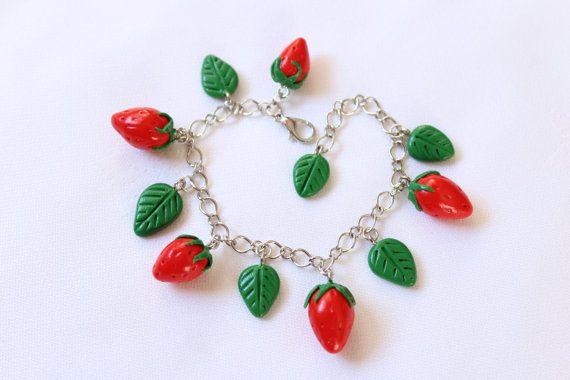 Strawberry bracelet charm clasps bracelet fruit от CharmMiniatures