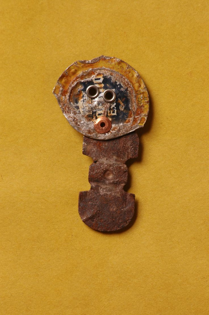 Lucky Brooch made from recycled/upcycled metal at Copper Lizard Studio