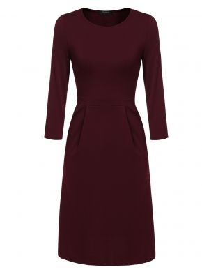 Zeagoo Şarap kırmızı Kadınlar 3/4 Kol O-Boyun Slim Fit A-Line Cep Katı Parti İş Elbiseleri