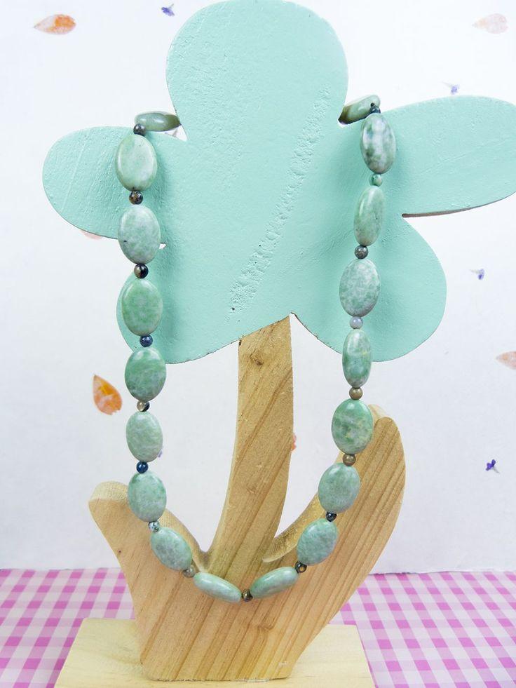 Natuurlijke Peace Jade en Unakiet edelsteen ketting, czech glaskralen via Birdie Accessoires
