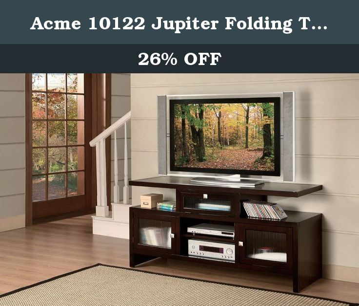 Acme 10122 Jupiter Folding TV Stand, Espresso Finish. This folding TV stand comes with espresso finish. Made of particle board, castanopsis cuspidate and ash. It fits up to 60-inch wide flat screen TVs, and boasts durability and long lasting value being a great addition to your living room space. The rich Espresso finish creates a classic flair with relaxed, warm accents. Perfect for any your dining room. Built-in with folding function. Quality construction for years of enjoyment and...