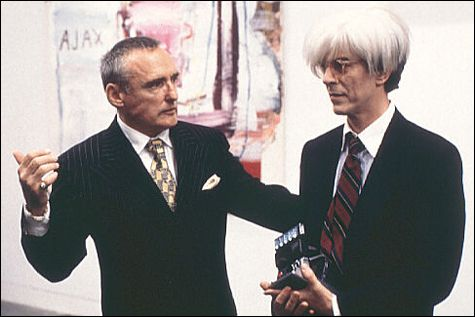 """Dennis Hopper and David Bowie as Bruno Bischofberger and Andy Warhol in Julian Schnabel's """"Basquiat"""""""