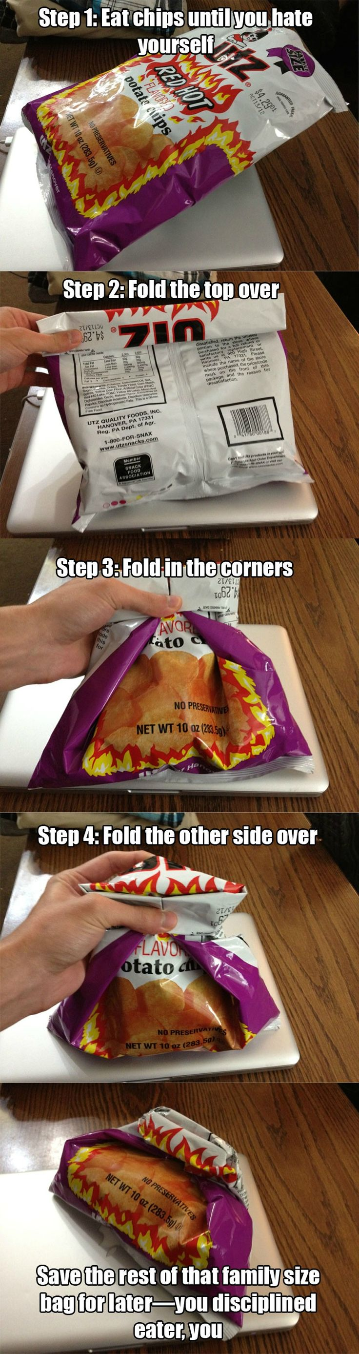 How to fold a chip bag so you don't need a clip.