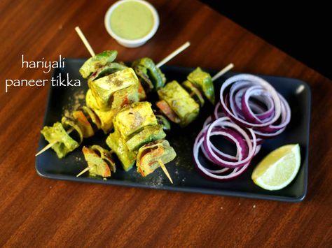 dry hariyali paneer tikka recipe, paneer hariyali tikka with step by step photo/video. simple green herb based paneer tikka with pudina/mint & coriander.