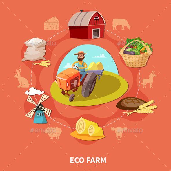 Farm Cartoon Colored Composition - Vector EPS