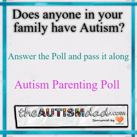 (Autism Poll) Does anyone in your family have #Autism?  I'm curious to find out about your family. Who in your family has been diagnosed with Autism? Please take a second and answer the survey/poll below and see how your experience stacks up against other families from around the world. :-)    #Autism #Parenting #Fatherhood #SpecialNeedsParenting #sensory #Dad  https://www.theautismdad.com/2017/02/09/autism-poll-does-anyone-in-your-family-have-autism/