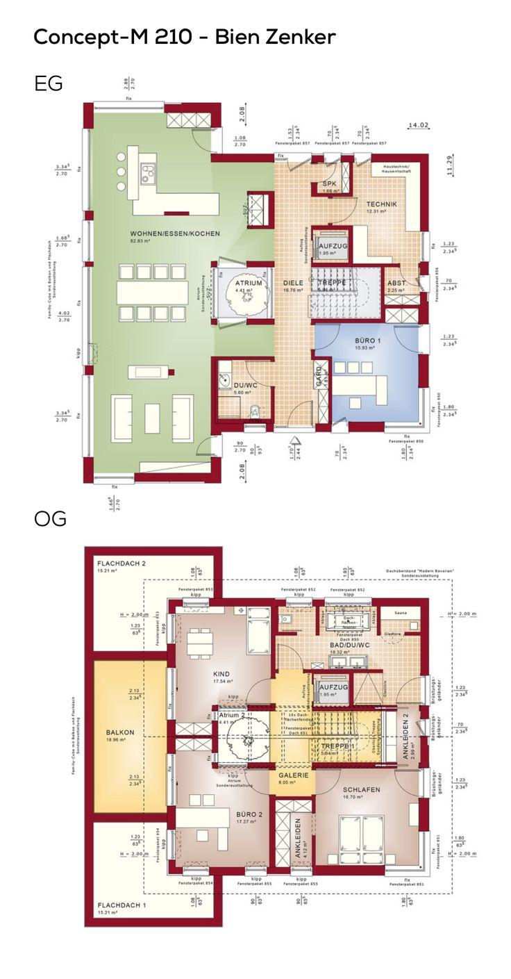Grundriss Einfamilienhaus mit Atrium, Satteldach