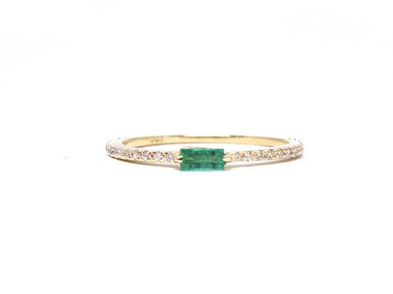 14K Yellow Gold Single Baguette Emerald Diamond Band Wedding