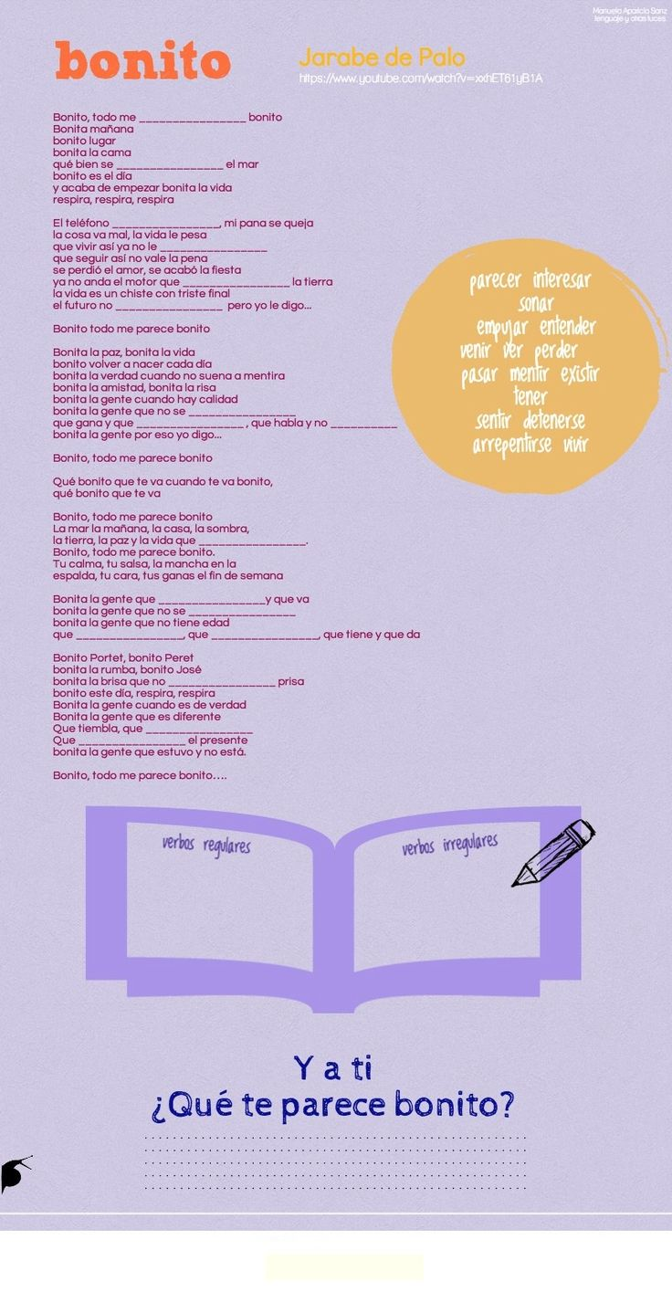 """Actividad canción """"bonito"""", Jarabe de Palo para practicar los verbos regulares e irregulares del presente de de indicativo. http://lenguajeyotrasluces.wordpress.com/"""