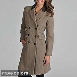 A long women's coat with leather trim