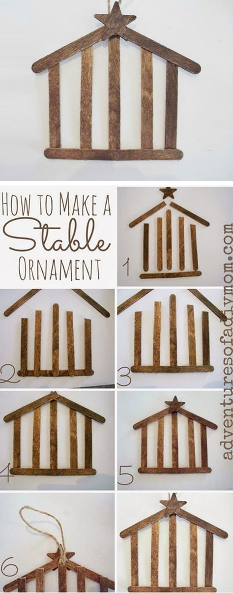 Craft Stick Stable Ornament   Click for 25 DIY Christmas Crafts for Kids to…