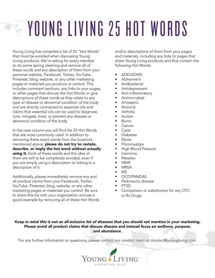 Hot Words Young Living  Essential Oils    Young Living