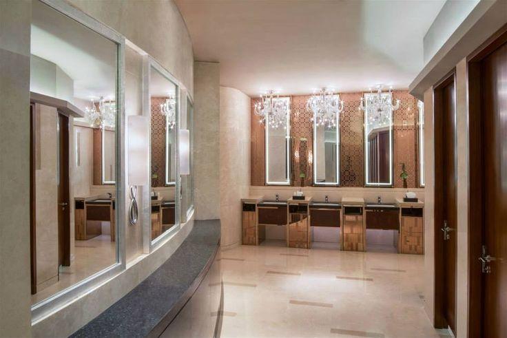 JW Marriott Hotel Zhengzhou, China. #hotel #restroom #chandelier #luxury #hospitality #lighting #design