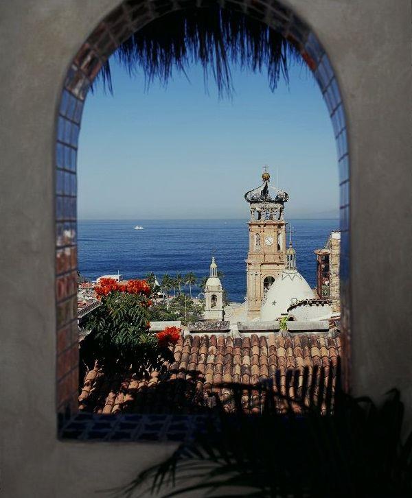 View from Hacienda de Angel luxury boutique hotel in Puerto Vallarta - former home of Richard Burton.