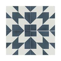 Oujda Blue and White Handmade Moroccan 8 x 8 inch Cement and Granite Floor or Wall Tile (Case of 12)