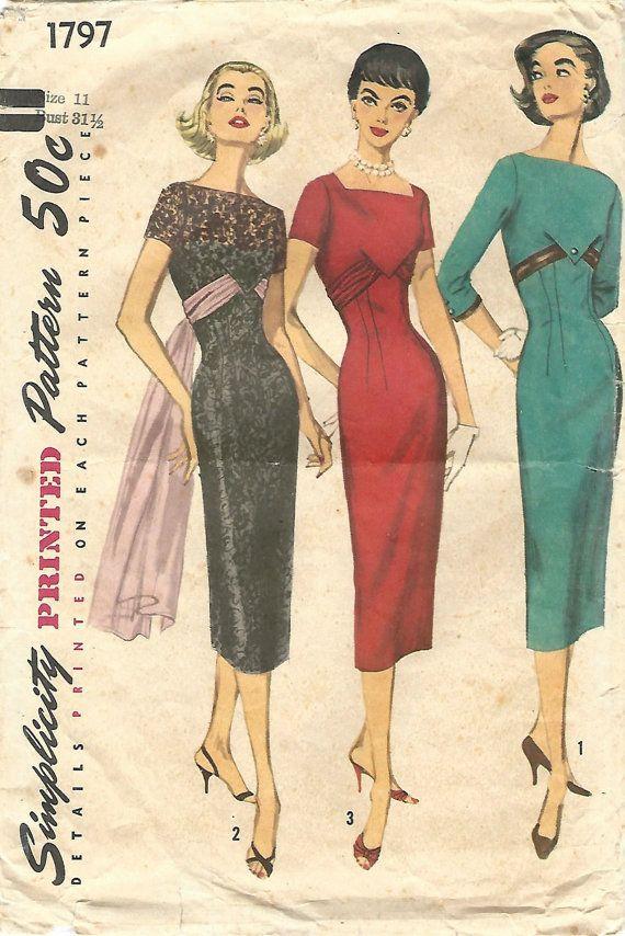 des années 1950, simplicité 1797 couture Vintage, modèle Junior Misses robe de…