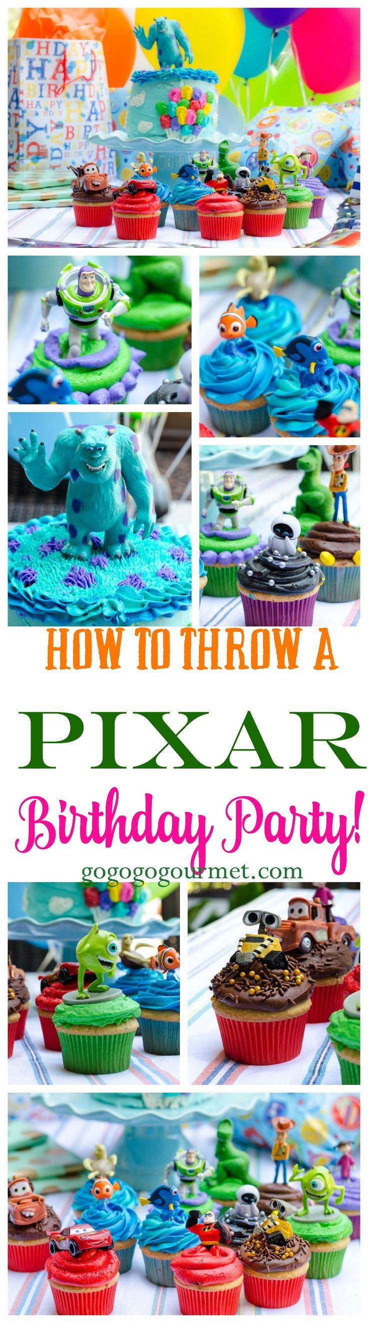 What do you do when a little boy is turning 3 and LOVES Disney and Pixar movies?? Why you throw him a Pixar party, complete with a Pixar cake and 13 individually themed Pixar cupcakes! How To Throw A Pixar Party | Go Go Go Gourmet /gogogogourmet/