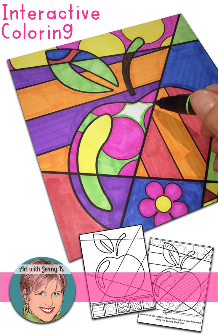 FREE Back to school activity to easily integrate art into the classroom. Interactive coloring sheet ideal for grades 3 and above (even adult coloring), pattern filled apple coloring sheet for PreK, 1st and 2nd grade as well as writing prompts all included.