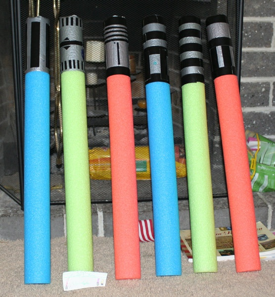 pool noodle lightsabers with duct tape - too cool